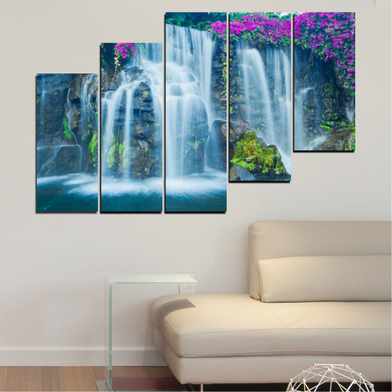 Canvas prints & wall decorative panels - 5 pieces №0234 » Blue, Turquoise, Gray, Dark grey » Nature, Landscape, Waterfall, Water, Rocks Form #8