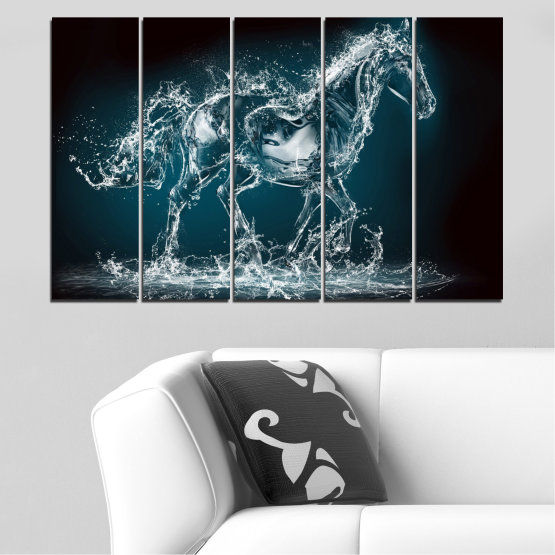 Canvas prints & wall decorative panels - 5 pieces №0235 » Black, Gray, Dark grey » Abstraction, Water, Horse Form #2