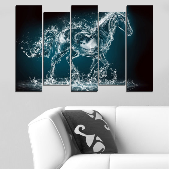 Canvas prints & wall decorative panels - 5 pieces №0235 » Black, Gray, Dark grey » Abstraction, Water, Horse Form #3