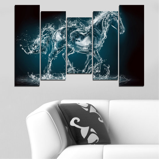 Canvas prints & wall decorative panels - 5 pieces №0235 » Black, Gray, Dark grey » Abstraction, Water, Horse Form #4
