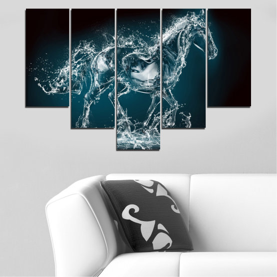 Canvas prints & wall decorative panels - 5 pieces №0235 » Black, Gray, Dark grey » Abstraction, Water, Horse Form #6
