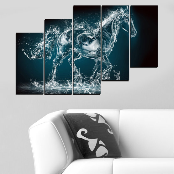 Canvas prints & wall decorative panels - 5 pieces №0235 » Black, Gray, Dark grey » Abstraction, Water, Horse Form #8