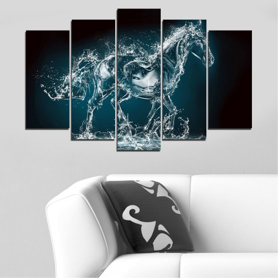Canvas prints & wall decorative panels - 5 pieces №0235 » Black, Gray, Dark grey » Abstraction, Water, Horse Form #1