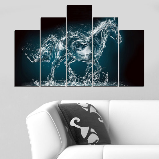 Canvas prints & wall decorative panels - 5 pieces №0235 » Black, Gray, Dark grey » Abstraction, Water, Horse Form #5