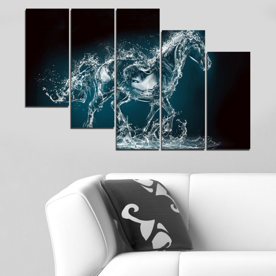 Canvas prints & wall decorative panels - 5 pieces №0235 » Black, Gray, Dark grey » Abstraction, Water, Horse Form #7