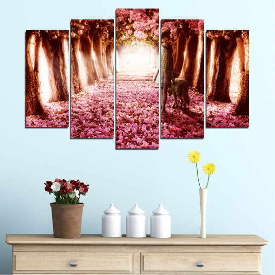 Canvas prints & wall decorative panels - 5 pieces №0236 » Red, Orange, Black, White » Flowers, Nature, Forest Form #1