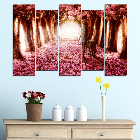 Canvas prints & wall decorative panels - 5 pieces №0236 » Red, Orange, Black, White » Flowers, Nature, Forest Form #3