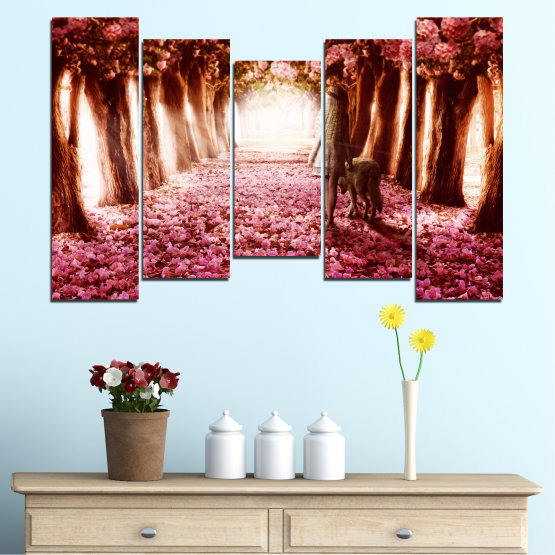 Canvas prints & wall decorative panels - 5 pieces №0236 » Red, Orange, Black, White » Flowers, Nature, Forest Form #4