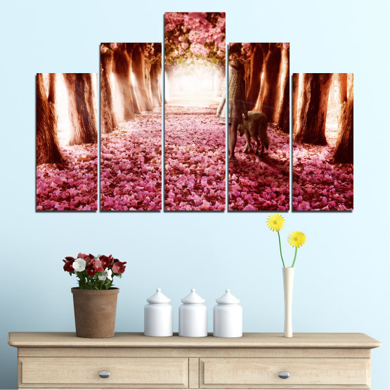 Canvas prints & wall decorative panels - 5 pieces №0236 » Red, Orange, Black, White » Flowers, Nature, Forest Form #5