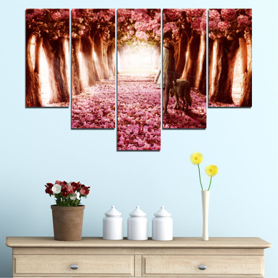 Canvas prints & wall decorative panels - 5 pieces №0236 » Red, Orange, Black, White » Flowers, Nature, Forest Form #6