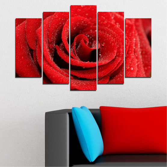 Canvas prints & wall decorative panels - 5 pieces №0238 » Red, Black » Flowers, Rose, Drops Form #1