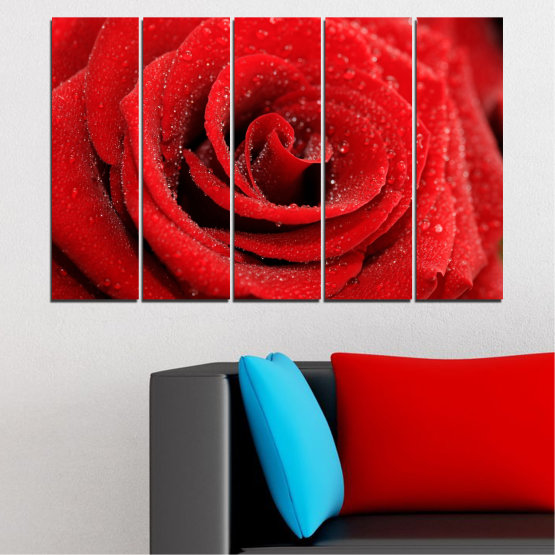 Canvas prints & wall decorative panels - 5 pieces №0238 » Red, Black » Flowers, Rose, Drops Form #2