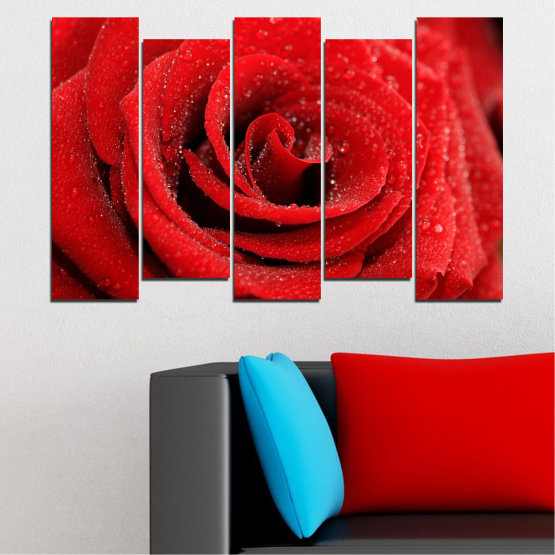 Canvas prints & wall decorative panels - 5 pieces №0238 » Red, Black » Flowers, Rose, Drops Form #3