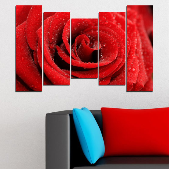 Canvas prints & wall decorative panels - 5 pieces №0238 » Red, Black » Flowers, Rose, Drops Form #4