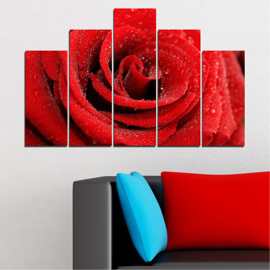 Canvas prints & wall decorative panels - 5 pieces №0238 » Red, Black » Flowers, Rose, Drops Form #5