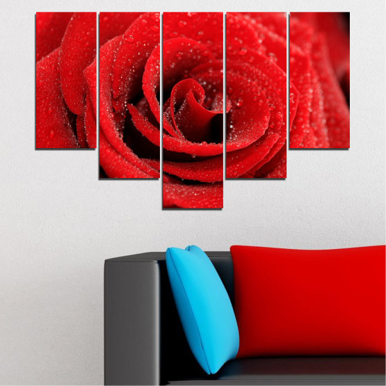 Canvas prints & wall decorative panels - 5 pieces №0238 » Red, Black » Flowers, Rose, Drops Form #6