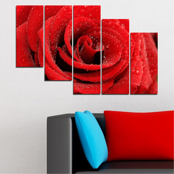 Canvas prints & wall decorative panels - 5 pieces №0238 » Red, Black » Flowers, Rose, Drops Form #7
