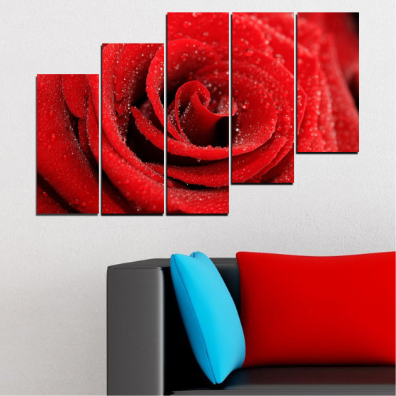 Canvas prints & wall decorative panels - 5 pieces №0238 » Red, Black » Flowers, Rose, Drops Form #8