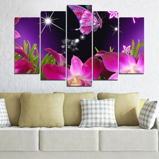 Canvas prints & wall decorative panels - 5 pieces №0240 » Purple, Black, Milky pink, Dark grey » Flowers, Orchid, Butterfly Form #1