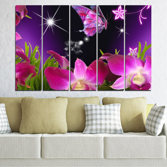 Canvas prints & wall decorative panels - 5 pieces №0240 » Purple, Black, Milky pink, Dark grey » Flowers, Orchid, Butterfly Form #2