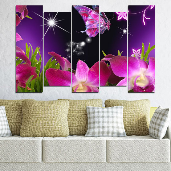 Canvas prints & wall decorative panels - 5 pieces №0240 » Purple, Black, Milky pink, Dark grey » Flowers, Orchid, Butterfly Form #3