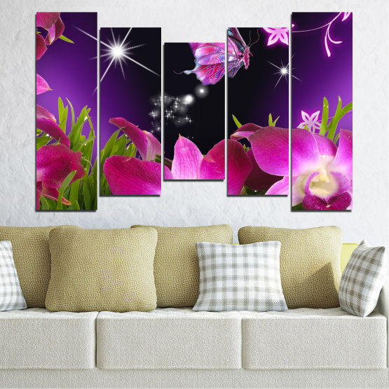 Canvas prints & wall decorative panels - 5 pieces №0240 » Purple, Black, Milky pink, Dark grey » Flowers, Orchid, Butterfly Form #4