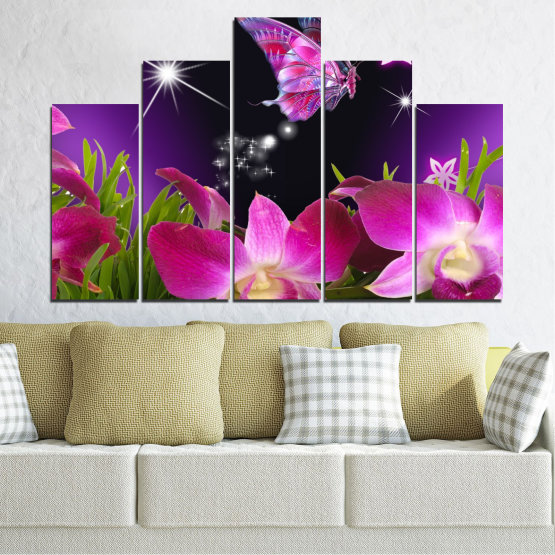 Canvas prints & wall decorative panels - 5 pieces №0240 » Purple, Black, Milky pink, Dark grey » Flowers, Orchid, Butterfly Form #5