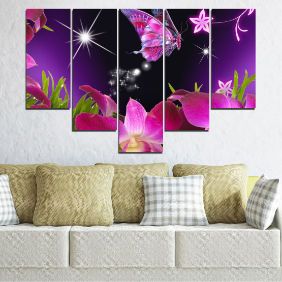 Canvas prints & wall decorative panels - 5 pieces №0240 » Purple, Black, Milky pink, Dark grey » Flowers, Orchid, Butterfly Form #6