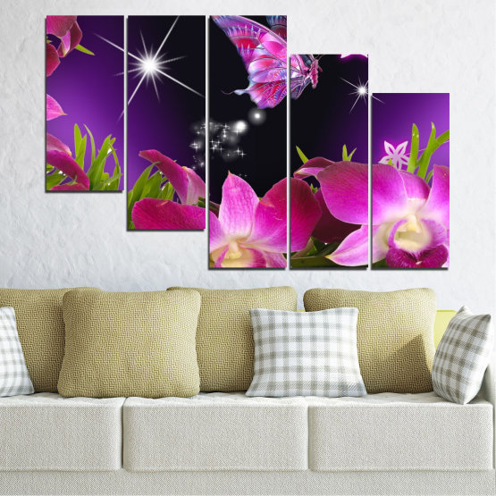Canvas prints & wall decorative panels - 5 pieces №0240 » Purple, Black, Milky pink, Dark grey » Flowers, Orchid, Butterfly Form #7