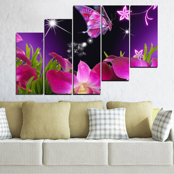 Canvas prints & wall decorative panels - 5 pieces №0240 » Purple, Black, Milky pink, Dark grey » Flowers, Orchid, Butterfly Form #8
