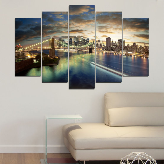 Canvas prints & wall decorative panels - 5 pieces №0241 » Brown, Black, Gray, Beige, Dark grey » City, Water, Lights, Night, New york, Bridge, Usa Form #1