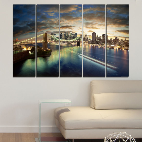 Canvas prints & wall decorative panels - 5 pieces №0241 » Brown, Black, Gray, Beige, Dark grey » City, Water, Lights, Night, New york, Bridge, Usa Form #2