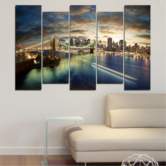 Canvas prints & wall decorative panels - 5 pieces №0241 » Brown, Black, Gray, Beige, Dark grey » City, Water, Lights, Night, New york, Bridge, Usa Form #3