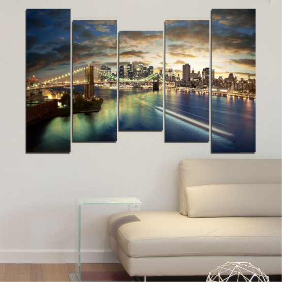 Canvas prints & wall decorative panels - 5 pieces №0241 » Brown, Black, Gray, Beige, Dark grey » City, Water, Lights, Night, New york, Bridge, Usa Form #4