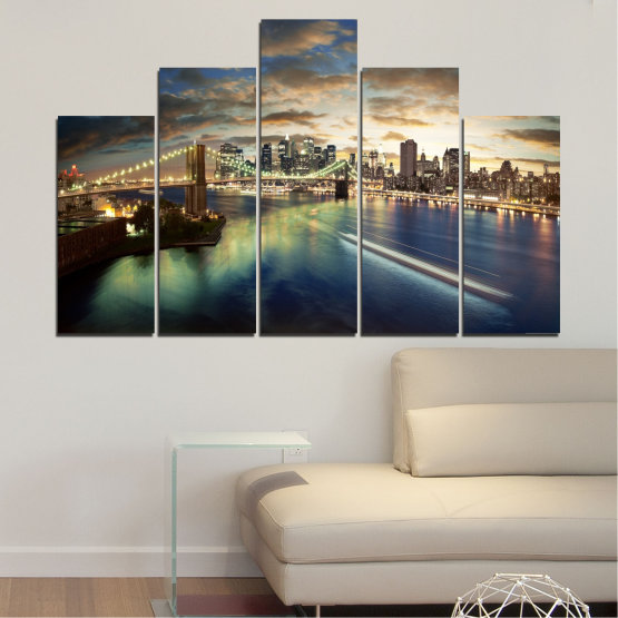 Canvas prints & wall decorative panels - 5 pieces №0241 » Brown, Black, Gray, Beige, Dark grey » City, Water, Lights, Night, New york, Bridge, Usa Form #5