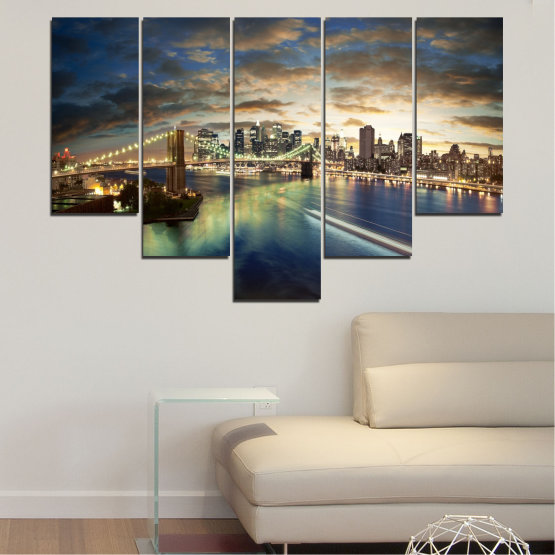 Canvas prints & wall decorative panels - 5 pieces №0241 » Brown, Black, Gray, Beige, Dark grey » City, Water, Lights, Night, New york, Bridge, Usa Form #6