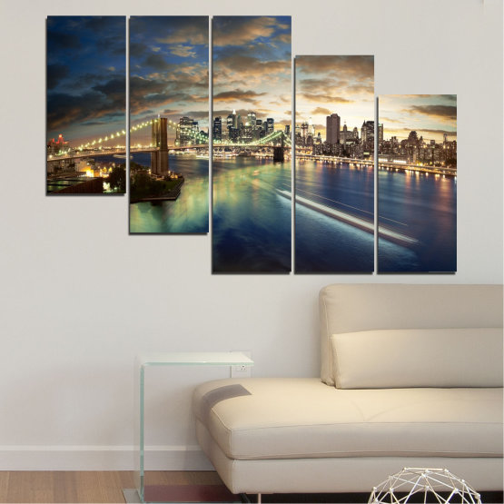 Canvas prints & wall decorative panels - 5 pieces №0241 » Brown, Black, Gray, Beige, Dark grey » City, Water, Lights, Night, New york, Bridge, Usa Form #7