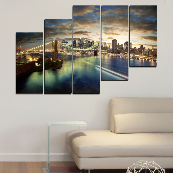 Canvas prints & wall decorative panels - 5 pieces №0241 » Brown, Black, Gray, Beige, Dark grey » City, Water, Lights, Night, New york, Bridge, Usa Form #8