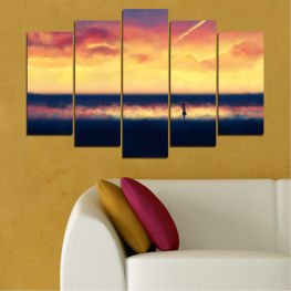 Sea, Sunset, Beach » Yellow, Orange, Black, Beige, Dark grey