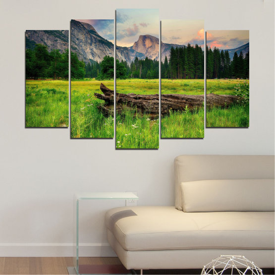 Canvas prints & wall decorative panels - 5 pieces №0243 » Green, Black, Gray, Dark grey » Nature, Landscape, Forest, Mountain, Meadow Form #1