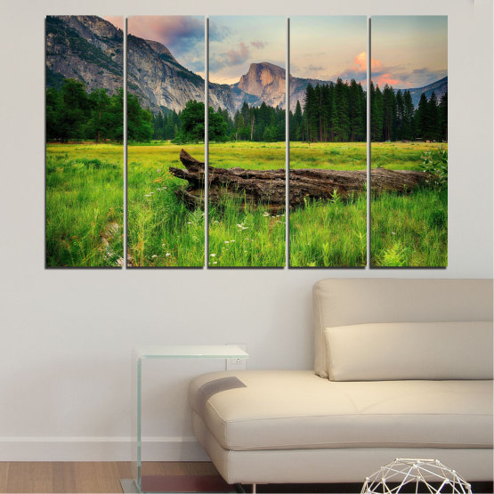 Canvas prints & wall decorative panels - 5 pieces №0243 » Green, Black, Gray, Dark grey » Landscape, Nature, Forest, Mountain, Meadow Form #2