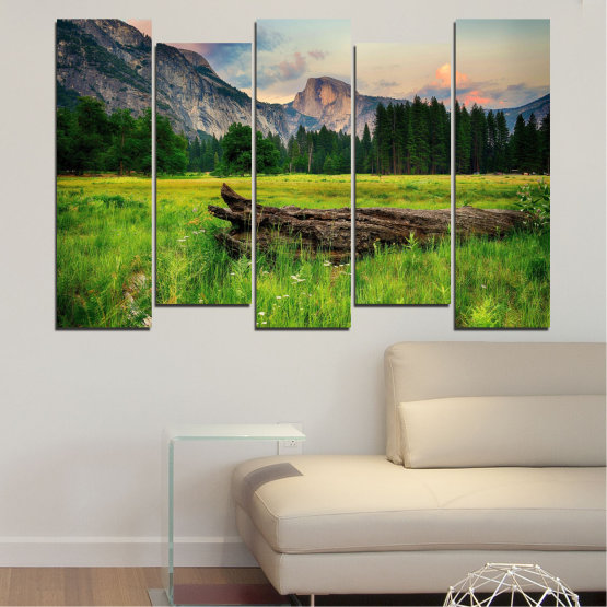 Canvas prints & wall decorative panels - 5 pieces №0243 » Green, Black, Gray, Dark grey » Landscape, Nature, Forest, Mountain, Meadow Form #3