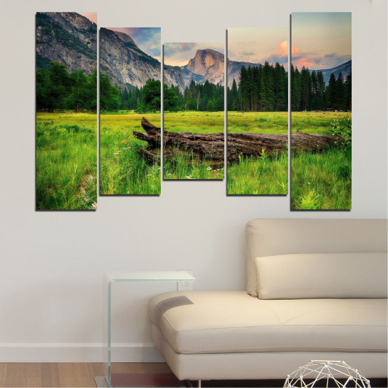 Canvas prints & wall decorative panels - 5 pieces №0243 » Green, Black, Gray, Dark grey » Landscape, Nature, Forest, Mountain, Meadow Form #4