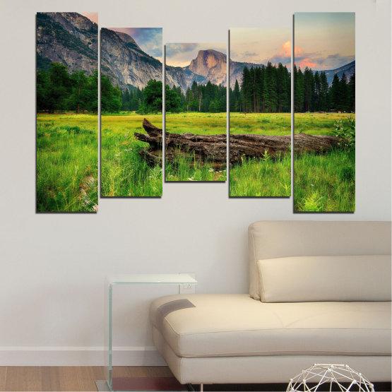Εκτύπωση σε καμβά και διακοσμητικά πάνελ τοίχου - 5 τεμάχια №0243 » Πράσινος, Μαύρος, Γκρί, Σκούρο γκρι » Φύση, Τοπίο, Δάσος, Βουνό, Λιβάδι Form #4