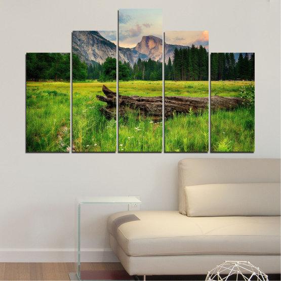 Εκτύπωση σε καμβά και διακοσμητικά πάνελ τοίχου - 5 τεμάχια №0243 » Πράσινος, Μαύρος, Γκρί, Σκούρο γκρι » Φύση, Τοπίο, Δάσος, Βουνό, Λιβάδι Form #5