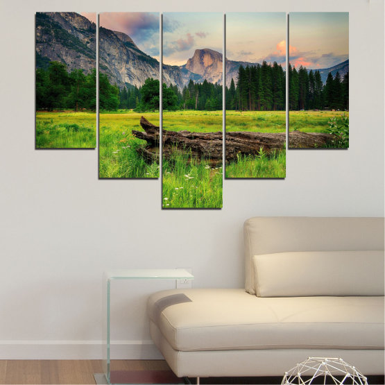 Canvas prints & wall decorative panels - 5 pieces №0243 » Green, Black, Gray, Dark grey » Landscape, Nature, Forest, Mountain, Meadow Form #6