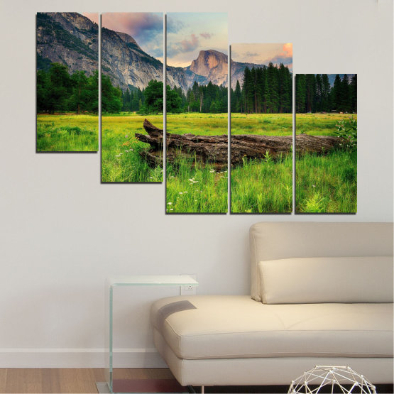 Canvas prints & wall decorative panels - 5 pieces №0243 » Green, Black, Gray, Dark grey » Nature, Landscape, Forest, Mountain, Meadow Form #7
