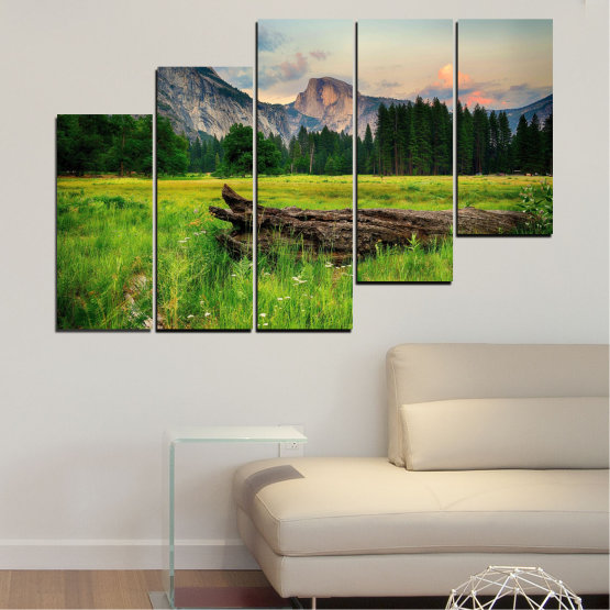 Canvas prints & wall decorative panels - 5 pieces №0243 » Green, Black, Gray, Dark grey » Nature, Landscape, Mountain, Forest, Meadow Form #8