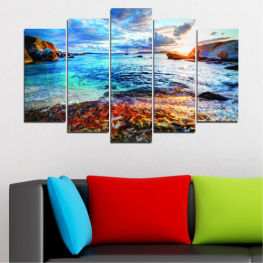 Water, Sea, Sunrise, Bay, Seaside » Turquoise, Black, Gray, Dark grey