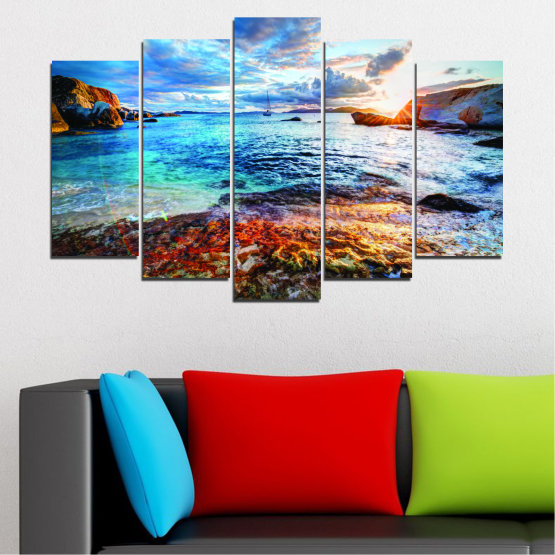 Canvas prints & wall decorative panels - 5 pieces №0244 » Turquoise, Black, Gray, Dark grey » Sea, Water, Sunrise, Bay, Seaside Form #1